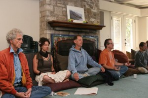 Students receiving guidance into their meditation state
